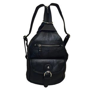 Genuine Leather Backpack Shoulder Sling Bag-Black
